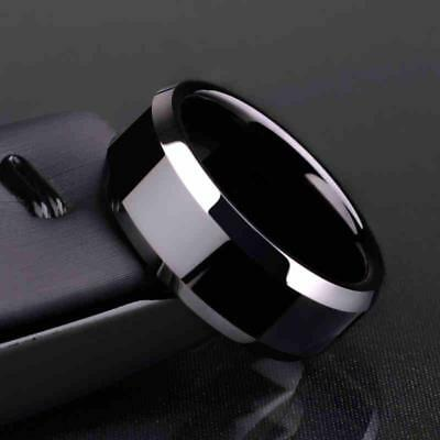 Ring Band Titanium Men Wedding Steel S Stainless 8mm Women Black Size 6 Gold New