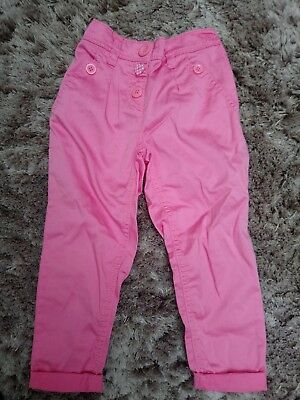 Bnwt Girls Pink Next Trousers Size 3-4Y Adjustable Waist