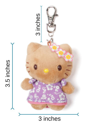 New Sanrio Hello Kitty Hawaii Hula Mascot Keychain Pink Floral Muumuu Dress
