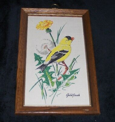 Vtg Painted Goldfinch Bird On Floral Dandelion Fabric Wooden Framed Wall Hanging