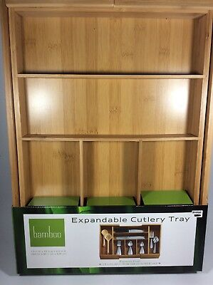 """Bamboo Expandable Cutlery Tray Kitchen Flatware 13"""" To 22"""" New"""