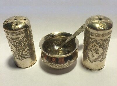 Authentic Set Of Russian/Persian Silver 84 Pepper Salt Shakers,Salt Cellar,Spoon