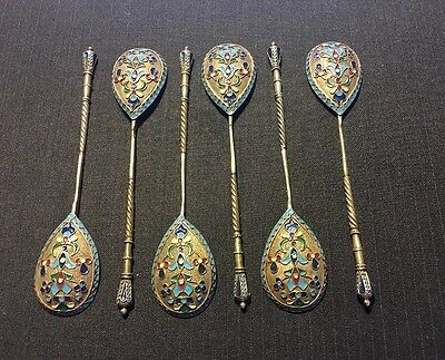 Set Of 6 Russian Imperial Silver 84 Enamel Spoons Hallmarked нс 107 Grams