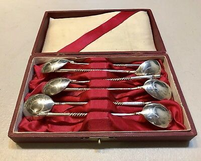 Genuine VintageSet Of 6 Russian Imperial Silver 84 Desert Spoons Hallmarked Case