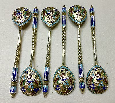 Set Of 6 Russian Imperial Silver 84 Enamel Spoons Hallmarked AK Total Weight131g