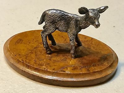 Vintage Russian Silver 84 Figurine Bust Statue Baby Deer Fawn Marble Antique