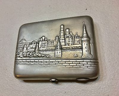 Antique Russian Silver 875 Gilt Cigarette Case Moscow Engraved 176 Grams Mint