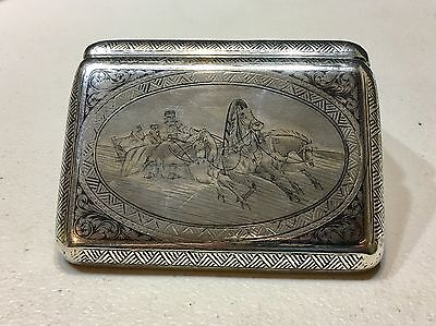 Authentic Russian Imperial Silver 84 Niello Cigarette Case дн Essay Mark ас 1896