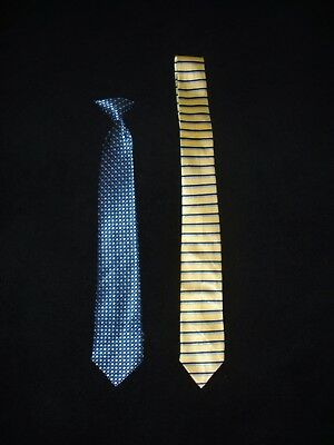 """Boys Youth Tie Lot Blue Yellow Stripe Tied & Clip-On Necktie 15"""" Holiday Formal"""