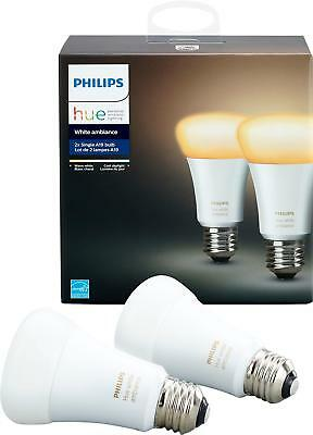 Philips - Hue White Ambiance A19 Wi-Fi Smart LED Bulb (2-Pack) - White
