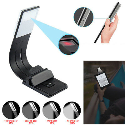 LED Reading Book Light With Detachable Flexible Clip USB Rechargeable Lamps USA