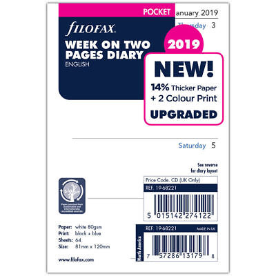 Filofax 2019 Refill - Pocket, Week On Two Pages, English (19-68221) NEW. Free Po