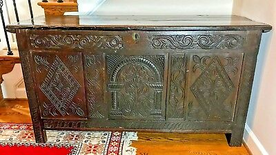 Antique 17th Century Charles II Oak Coffer or Chest -c.1675- Shipping Available