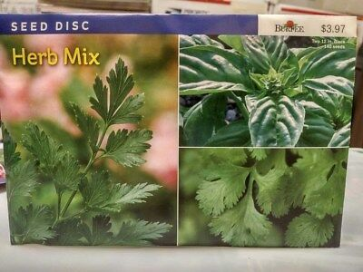Burpee Seed Disc Herb Mix - Basil, Cilantro, Parsley - Two 12-Inch Discs (2018)