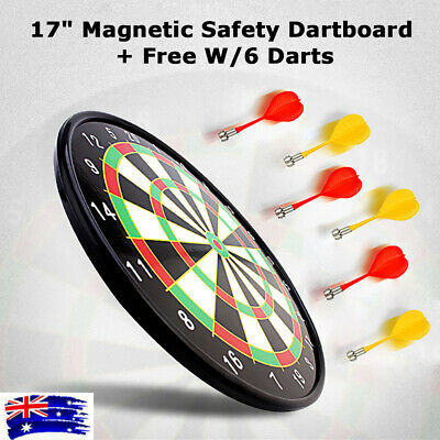 """17"""" Magnetic Dart Board with 6 Darts Large Adult Kids Safety Dartboard"""