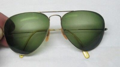 7fabd2926a9a Vintage B L Rayban Gold Filled Aviator Sunglasses Green Lenses Nice  Condition NR