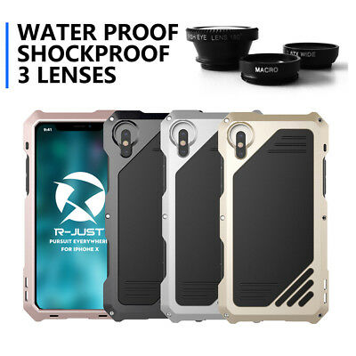 3 Lens Waterproof Metal Case Cover For iPhone X 8 7 6 Plus XS Max XR Camera