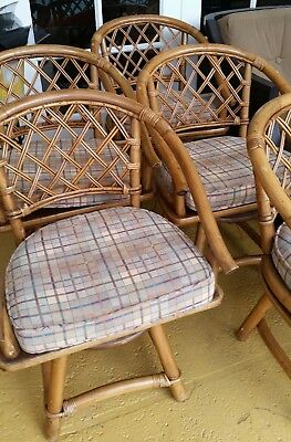 RARE 60's FICKS REED RATTAN DINING TABLE & 5 SWIVEL CHAIRS