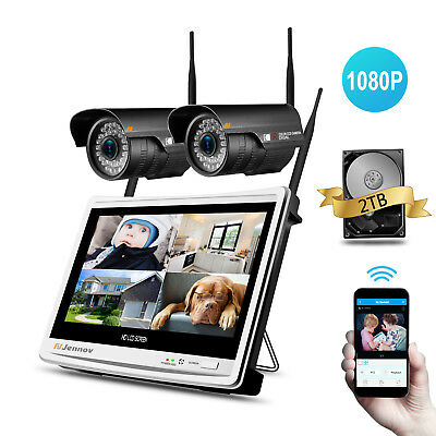 1080P HD 4CH Wireless Security Camera System Outdoor 12'' LCD WIFI NVR CCTV Kit