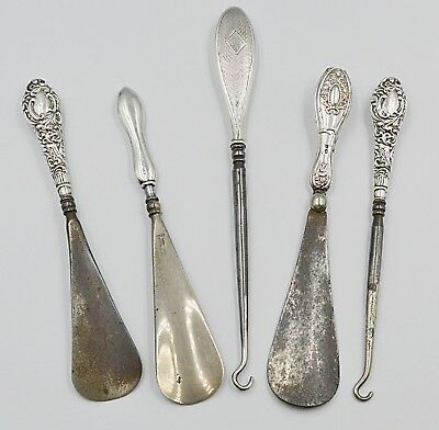 Antique Silver Handle Antique Shoe Horns Button Hooks Collection of Five