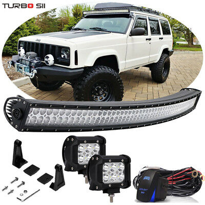 For 84 01 Jeep Cherokee Xj 50 Curved Led Light Bar Combo W