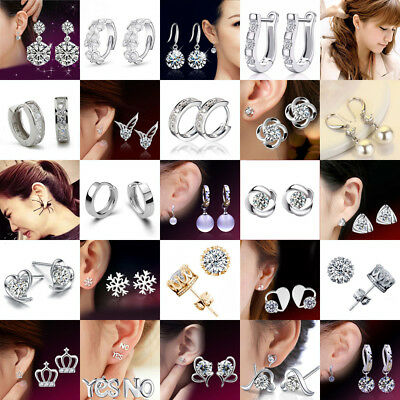 925 Sterling Silver Womens Girls Stud Earrings Crystal Christmas Xmas Wedding