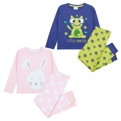 Infant Boys & Girls Pyjama Set PJ Long Sleeved Bunny Monster Top Trousers Star