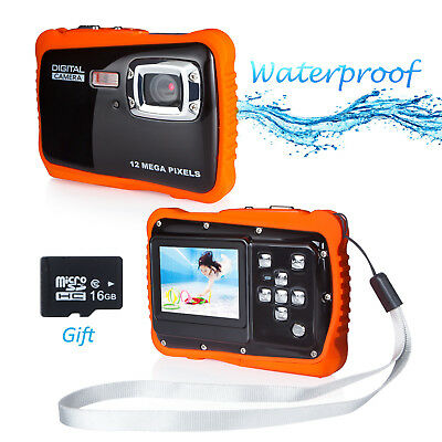 12MP Waterproof Digital Camera for Kids Underwater Video Cam with 16G SD 1080P