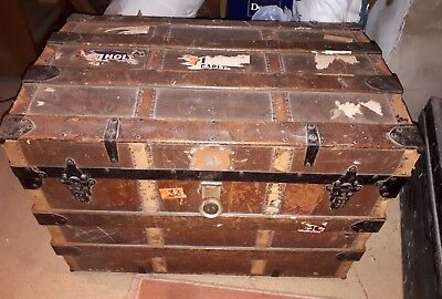 Antique Dome Top Steamer Travel Trunk Storage Chest - Saratoga