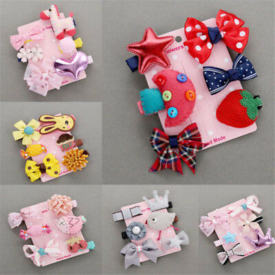 6Pcs/Set Baby Girls Hair Clips Bow Kids Infant Cute Mini Barrettes Mix Hairpins