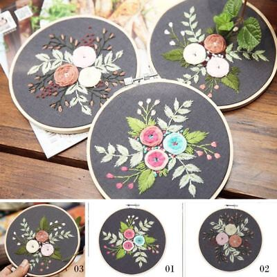 Full Set of Handmade Embroidery Starter Kit with Pattern Hoop/Threads Tools Kit