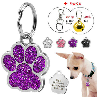 Personalised Dog Tags Engraved Puppy Pet ID Name Collar Tag Paw Glitter 4 Colors