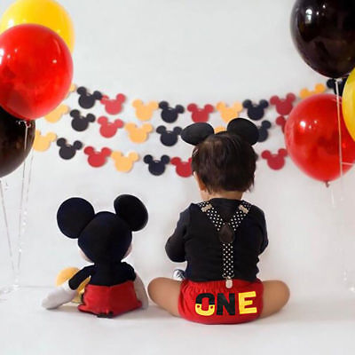 Baby Boy Cake Smash 1st Birthday Suspenders Bloomers Outfit Mickey Mouse Costume
