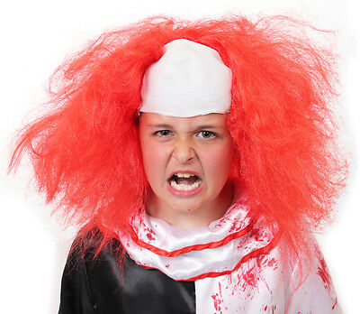Kids Horror Clown Wig Latex Cap Red Hair Halloween Fancy Dress Costume Accessory