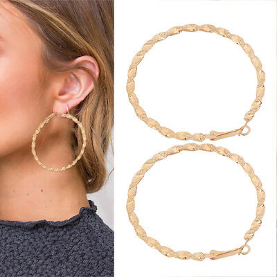 New Pair Of Gold Plated Hoop Earrings Large Circle Creole Chic Hoops Uk