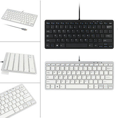 Ultra Thin Slim 78 Key Wired USB Ergonomic Mini Keyboard for PC Apple Mac Laptop