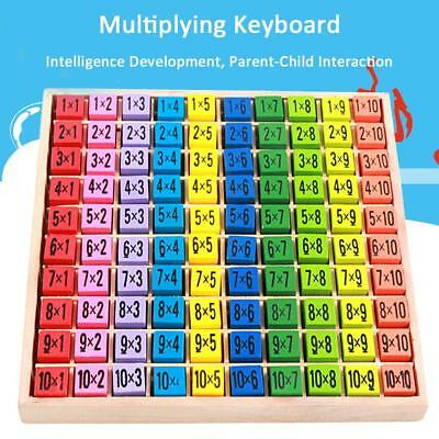 Children Wooden Toys 99 Multiplication Table Math Toy 10x10 Figure Blocks Gifts