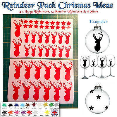 Christmas Reindeer Stags Vinyl Stickers Xmas Craft Stag baubles wine glass 2018