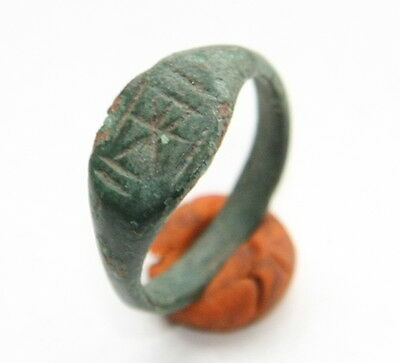 Ancient Bronze Finger Ring With Ornament (JNR)