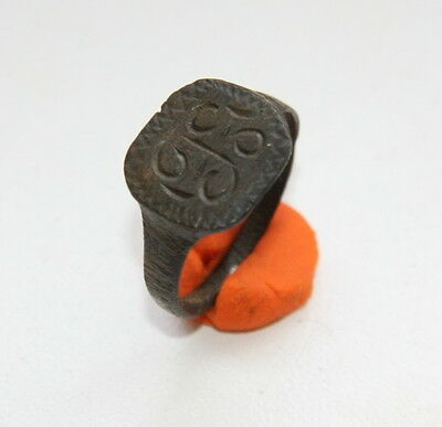 Ancient Bronze Finger Pseudo-Heraldry Seal Ring (MJA02)