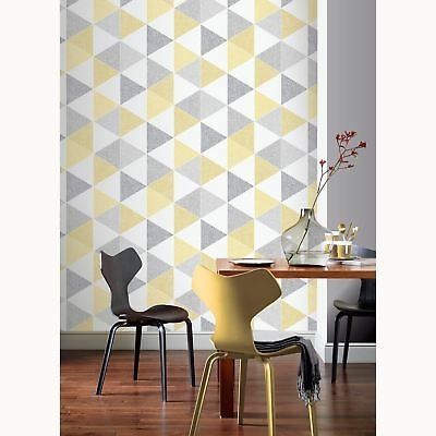 Scandi Geo Triangle Wallpaper Yellow / Grey - Arthouse 908206