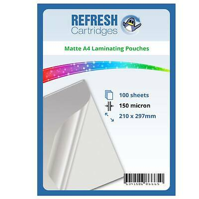 Matte Laminating Pouches A4 150 Micron Pack of 100 Sheets