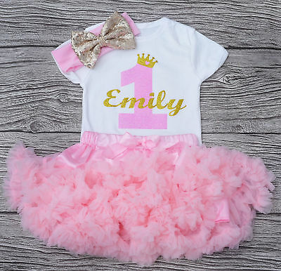 Personalised First 1st Birthday  Pink Tutu outfit baby girl cake smash outfit