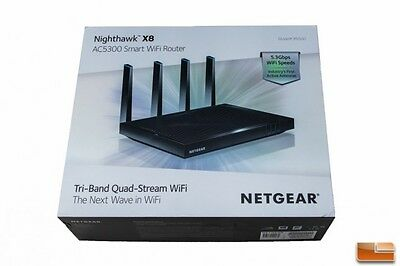 NEW NETGEAR AC5300 Nighthawk X8 Tri-Band Smart WiFi Router (R8500-100NAS)