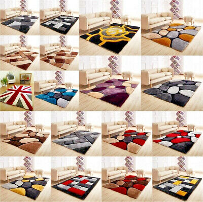 New Modern 3D Silky Shaggy Deep Pile New Pebbles Design Thick Rugs Super Soft
