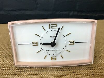 VINTAGE RETRO 1960s PINK METAMEC ELECTRIC ALARM CLOCK WITH LIGHTED DIAL