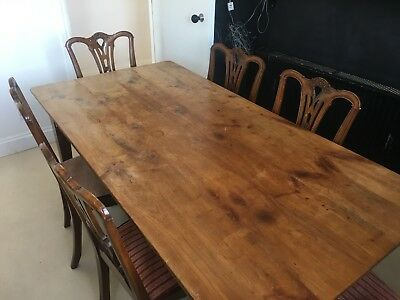 Antique Oak French Dining Table And 6 Chairs.
