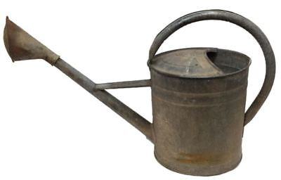 """Watering Can Vintage RARE Galvanized Steel Long Spout Sprinkler Head Large 19"""" T"""