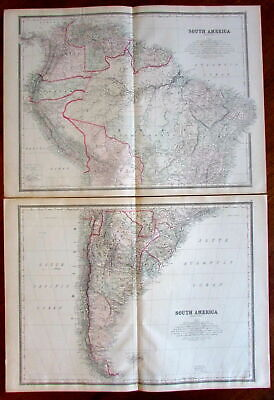 South America c.1880's large lithographed hand color old map 2 sheets detailed