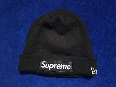 4d1c8e88acc Supreme Black Box Logo Beanie World Famous New Era OSFA Hat 100% AUTHENTIC